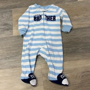 3 month Little brother footie pajamas